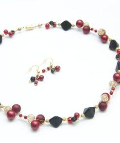 Colier Perlen Kette Goldenrot von Just Trisha - Unikat