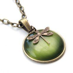 Vintage Halskette olive grüne Libelle - Bronze oder Edelstahl