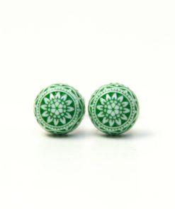 8mm Mosaik Mandala Ohrstecker in Grün und weiß - Edelstahl