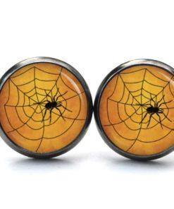 Druckknopf / Ohrstecker / Ohrhänger Halloween Spinne mit Spinnennetz