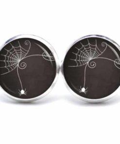 Druckknopf / Ohrstecker / Ohrhänger Halloween elegantes Spinnennetz mit Spinne