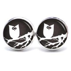 Druckknopf Ohrstecker Ohrhänger Halloween verrückte Eule in schwarz/weiß