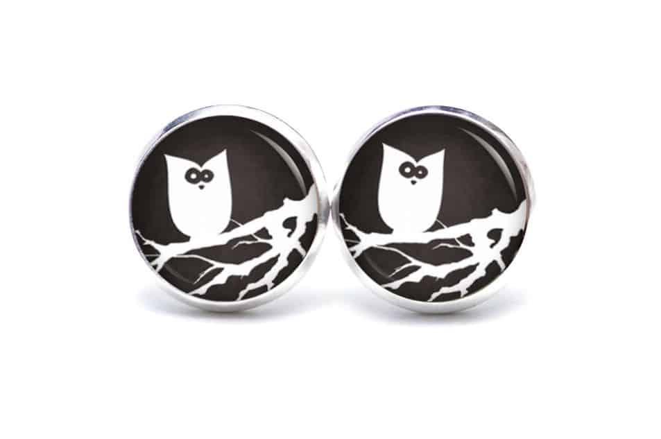 Druckknopf / Ohrstecker / Ohrhänger Halloween verrückte Eule in schwarz/weiß