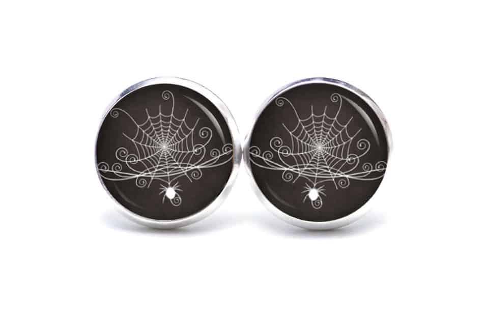 Druckknopf / Ohrstecker / Ohrhänger Halloween großes Spinnennetz mit Spinne
