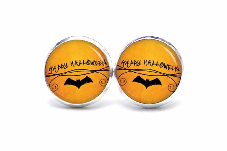 Druckknopf / Ohrstecker / Ohrhänger Happy Halloween mit Fledermaus