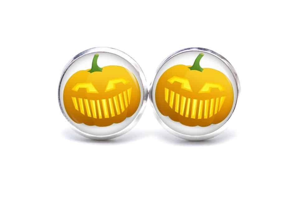 Druckknopf / Ohrstecker / Ohrhänger lustiger Halloween Kürbis