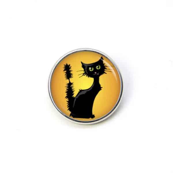 Druckknopf / Ohrstecker / Ohrhänger Schwarze Halloween Katze