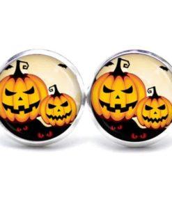 Druckknopf / Ohrstecker / Ohrhänger lachende Halloween Kürbisse