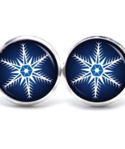 Weihnachtliche Druckknopf / Ohrstecker / Ohrhänger Weihnachtsstern dunkelblau