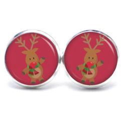 Weihnachtliche Druckknopf / Ohrstecker / Ohrhänger der Elch ist los in Rosarot