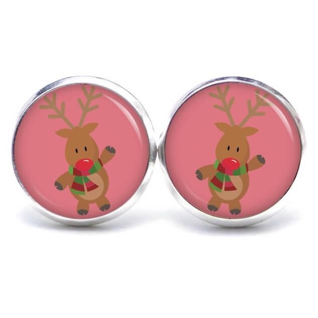 Weihnachtliche Druckknopf / Ohrstecker / Ohrhänger der Elch ist los in Rosa