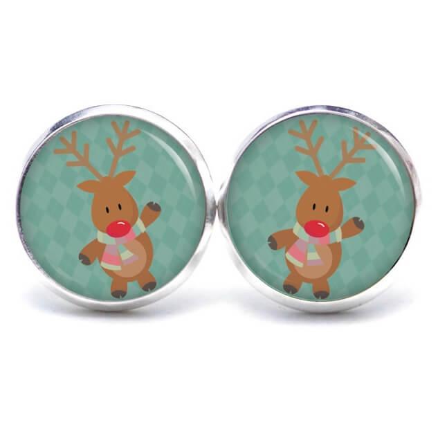 Weihnachtliche Druckknopf / Ohrstecker / Ohrhänger der Elch ist los in Türkis