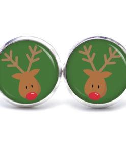 Weihnachtliche Druckknopf / Ohrstecker / Ohrhänger der Elch ist los in Dunkelgrün