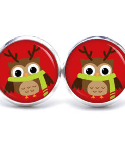 Druckknopf / Ohrstecker / Ohrhänger kleiner weihnachts Eulen Elch