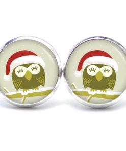 Druckknopf / Ohrstecker / Ohrhänger kleine Weihnachts Eule