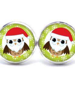 Druckknopf / Ohrstecker / Ohrhänger kleine Weihnachtsmann Eule