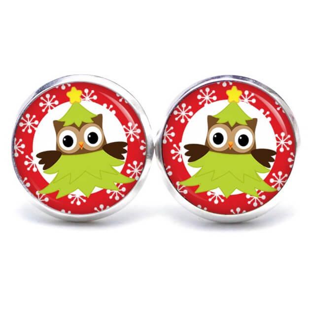 Weihnachtliche Druckknopf / Ohrstecker / Ohrhänger kleine Christkind Eule