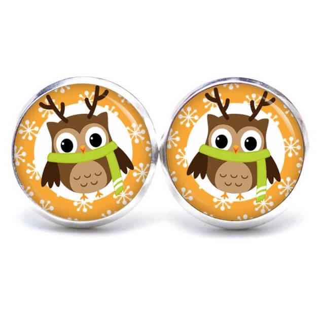 Weihnachtliche Druckknopf / Ohrstecker / Ohrhänger kleiner Eulen Elch