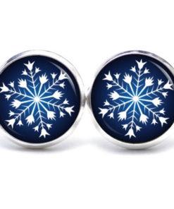 Weihnachtliche Druckknopf / Ohrstecker / Ohrhänger Schneeflock Weihnachtsstern dunkelblau