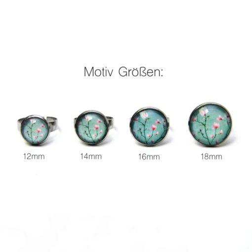 Edelstahl Ring mit türkisen Kirschblüten - verschiedene Größen