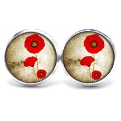 Druckknopf Ohrstecker Ohrhänger zarte große Mohnblumen rote Blume