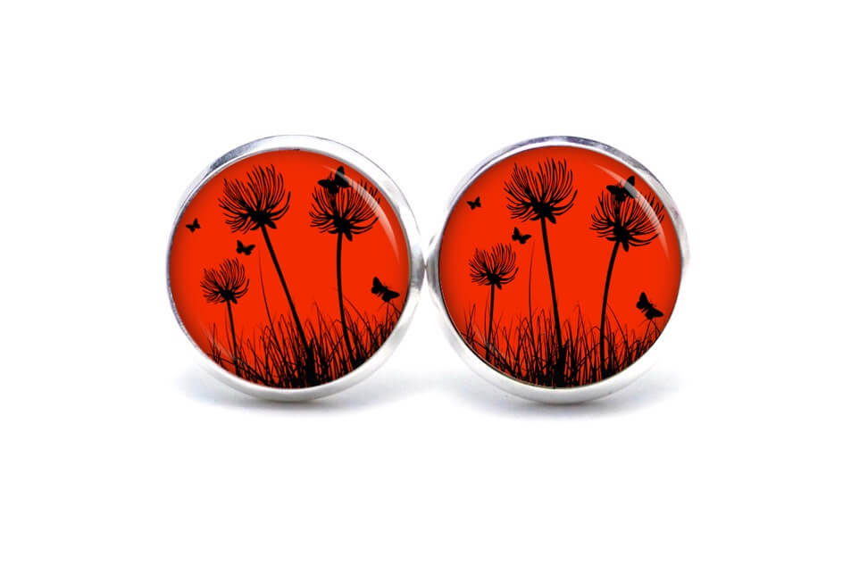 Druckknopf / Ohrstecker / Ohrhänger zarte Pusteblume in Rot