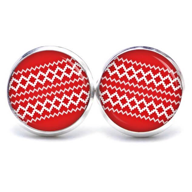 Druckknopf / Ohrstecker / Ohrhänger rot weißes Weihnachtsmuster