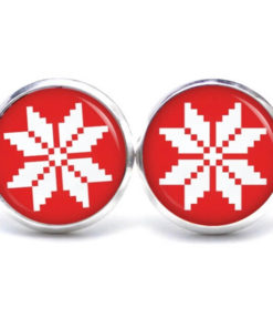 Druckknopf / Ohrstecker / Ohrhänger rot weißer Weihnachtsstern