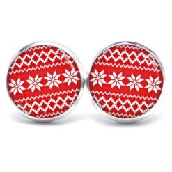 Druckknopf / Ohrstecker / Ohrhänger rot weißes Weihnachtsmotiv