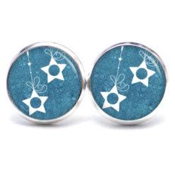 Druckknopf Ohrstecker Ohrhänger Weihnachts Sterne in blau