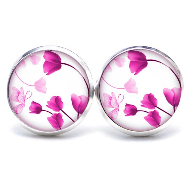 Druckknopf / Ohrstecker / Ohrhänger wunderschöne rosa Tulpen