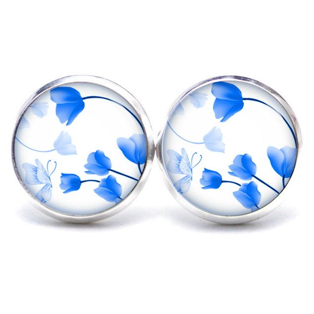 Druckknopf / Ohrstecker / Ohrhänger wunderschöne blauen Tulpen