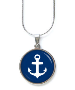Edelstahl Kette Anker in Blau maritim