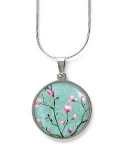 Edelstahl Kette zauberhafte türkis rosa Kirschblüten