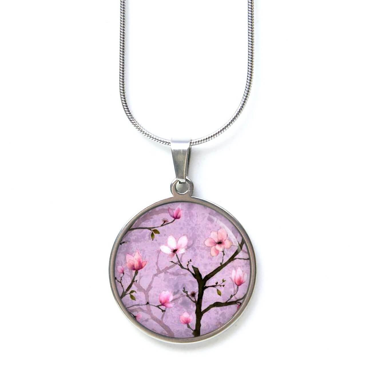 Edelstahl Kette Lila Kirschblüten Japanische Kirschblüten