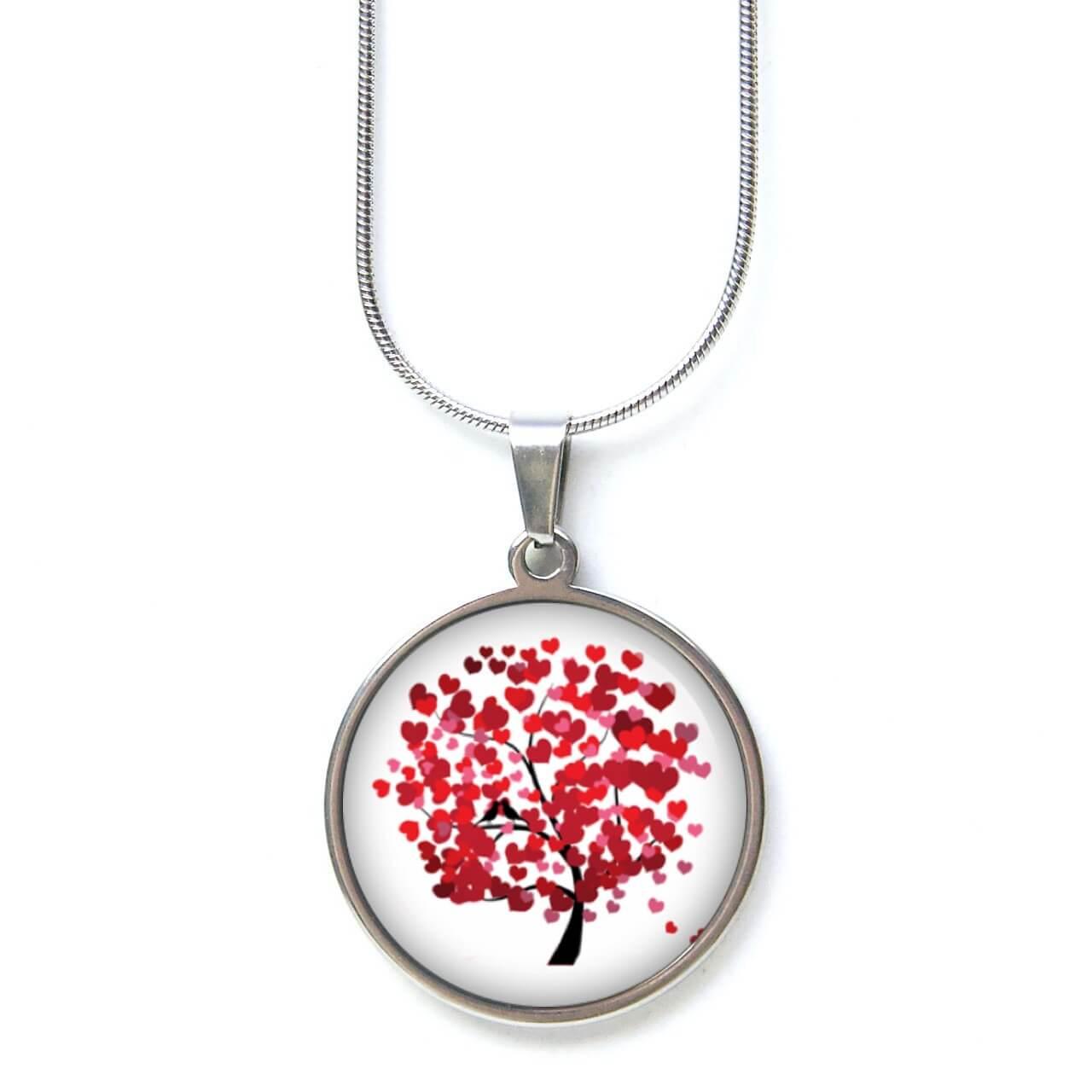Edelstahl Kette Herzchenbaum - Baum mit Herzen - Valentinstag