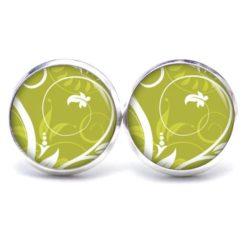 Druckknopf Ohrstecker Ohrhänger olive grün Dschungel