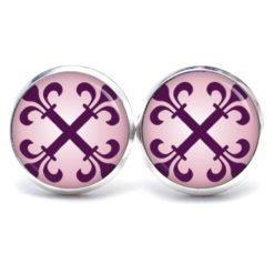 Druckknopf Ohrstecker Ohrhänger große violettes Kreuz