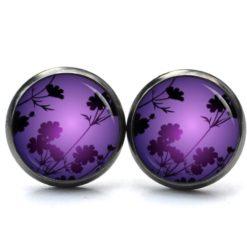 Druckknopf Ohrstecker Ohrhänger Abendstimmung in Afrika violette Blumen