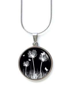 Edelstahl Kette schwarz weiße Pusteblumen Löwenzahn Wiese