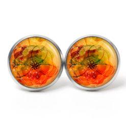Druckknopf Ohrstecker Ohrhänger abstrakte orangene Blumen