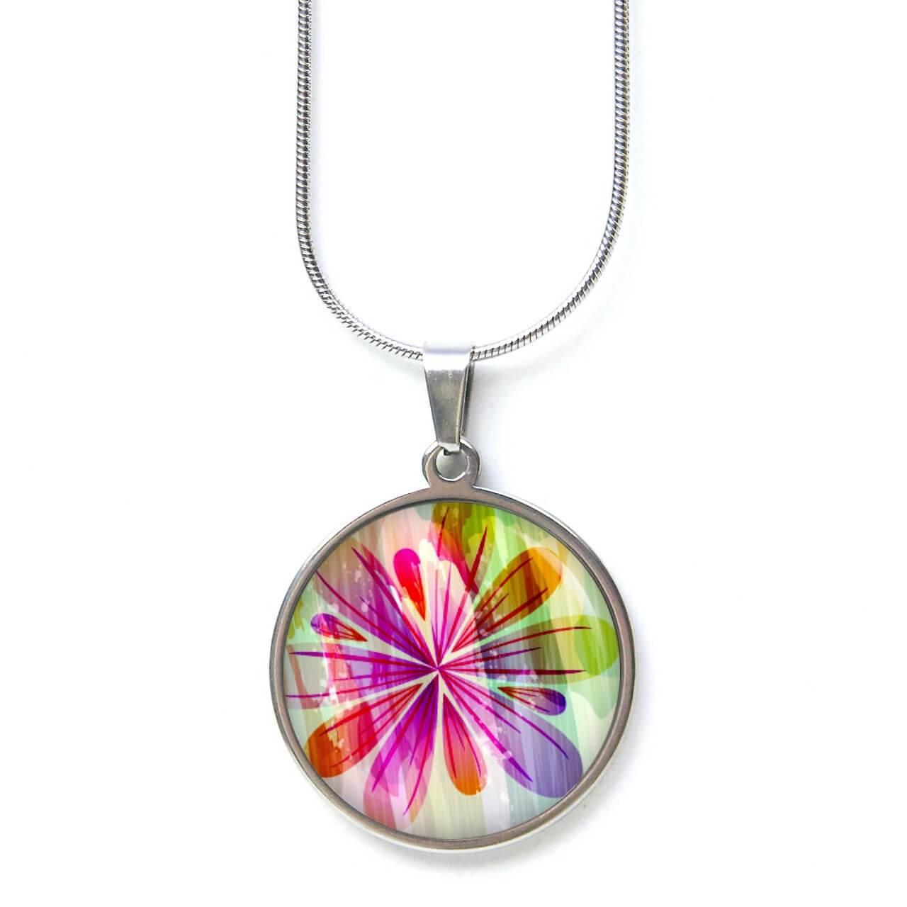 Edelstahl Kette große bunte Regenbogen Blume Flower Power