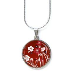 Edelstahl Kette zarte Blumen Wiese in Rot und Weiß