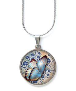 Edelstahl Kette großer blauer Schmetterling mit blauen Blumen
