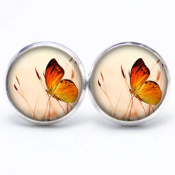 Druckknopf / Ohrstecker / Ohrhänger Schmetterling auf der Wiese