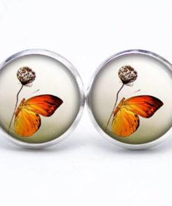 Druckknopf / Ohrstecker / Ohrhänger Schmetterling orange mit Blume