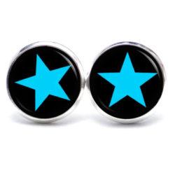 Druckknopf Ohrstecker Ohrhänger blau schwarzer Stern