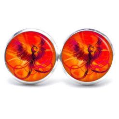 Druckknopf / Ohrstecker / Ohrhänger Phönix orange und rot