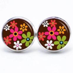 Druckknopf / Ohrstecker / Ohrhänger Hippie Blumen bunt mit braun
