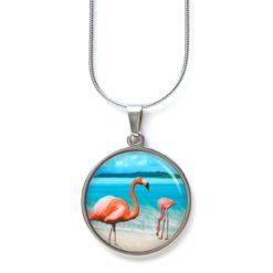 Edelstahl Kette Flamingo Flamingos am Strand - Meer